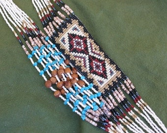Turquoise and Seed Bead Necklace - Brown, Tan, White Seed Beads