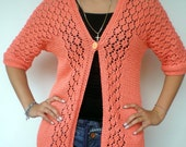 Lolly  Lace Cardigan Trendy Bright Coral Hand Knit Woman Sweater Tunic  Cardigan NEW