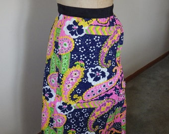 Vintage 1970s mod quilted wrap skirt 29 W