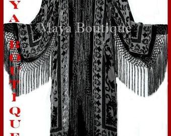 Black Silk Burnout Velvet Fringes Jacket Kimono Long Coat Maya Matazaro