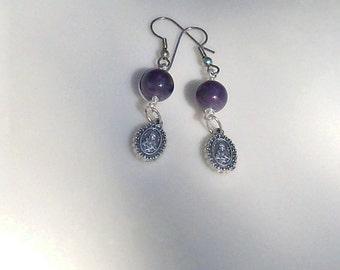 Wire wrapped purple amethyst earrings - Sacred Heart of Jesus earrings - February birthstone