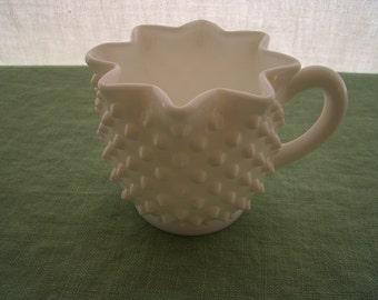 Vintage Creamer Milk Glass Hobnail Ruffled Edge Creamer