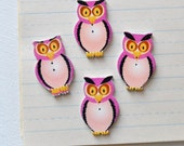 Pink Owl Buttons - Wooden Painted Set of 4 - Lot 129