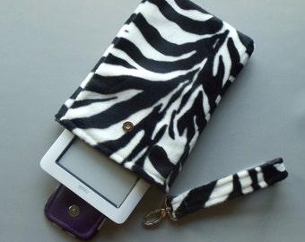 Zebra eReader Cover, eBook Cover, 7 inch Tablet Case, 8 inch Tablet Case, Tablet Cover, Tablet Sleeve, Tablet Holder, Clutch w Handle Strap