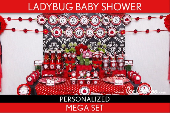 Ladybug Baby Shower Package Collection Set Mega Personalized