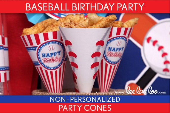 Baseball Birthday Party - Party Cones & Bonus: Mini Hershey Wrappers NonPersonalized Printable // Baseball - B62Nm