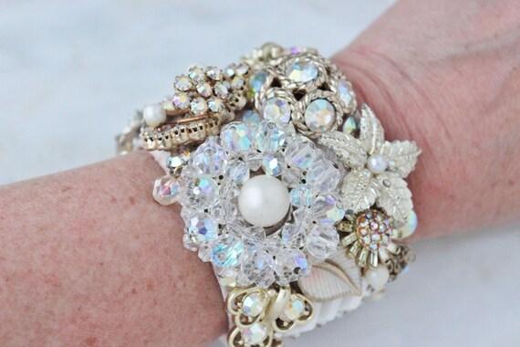Flower Floral Star Rhinestone Crystal Bride Wedding Statement Vintage Costume Jewelry Cuff Bracelet