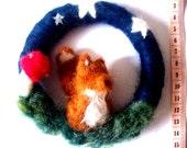 Needlefelt Night Fox Wreath/Wall hanging