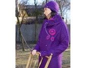 Purple roll necked poncho style sweater