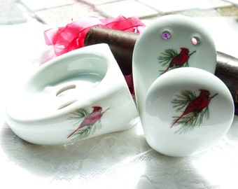 Bathroom Porcelain Wall Hanging ToothBrush Support/Soap Dish & Towel Hook - Red Bird Pattern - Porcelaine De Paris - Shabby Chic Home Decor
