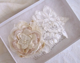 Bridal Lace with Fabric Flower Hair Comb