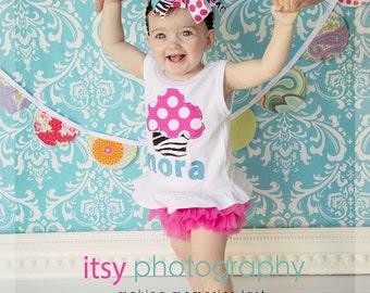 Ruffled Hem Personalized Birthday Cupcake Tank with Hot Pink Ruffled Chiffon Diaper Cover/Bloomer and headband/bow