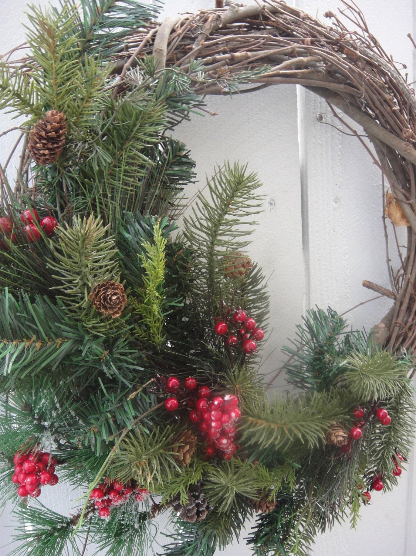 Christmas wreath outdoor wreath holiday wreath by donnahubbard for Exterior christmas wreaths
