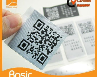 1200 custom QR code woven label, clothing label