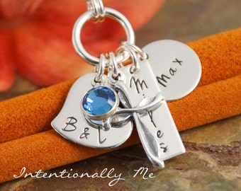 Personalized Mommy Jewelry - Hand Stamped Jewerly - Sterling Silver Necklace - I am Blessed (Two kids)