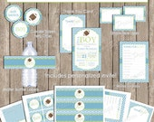 Football Baby Shower Invitation Package, football baby shower, green, teal, chevron, typography,printable, (PARTIAL INSTANT DOWNLOAD) - fb1