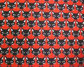 1M Japanese cotton fabric Cat printed one yard red colour