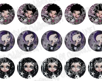Bottlecap Images Digital Collage Sheet One Inch Circles Dark Big Eyed Girls 4x6 Bottle Caps