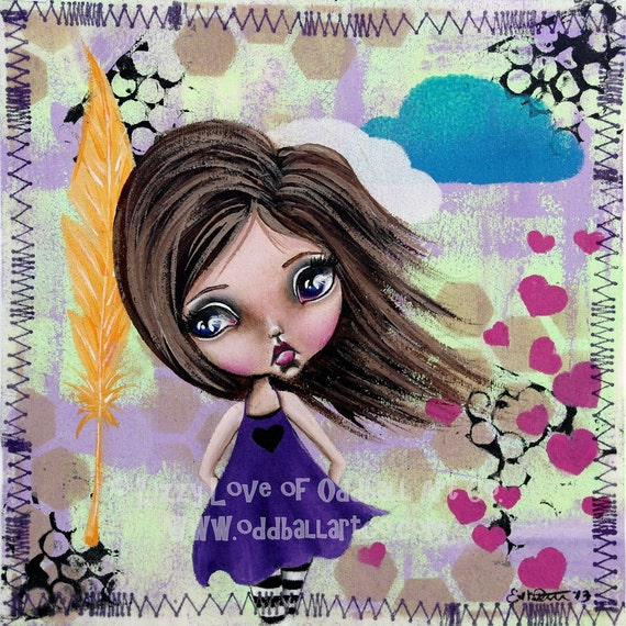Big Eye Art Mixed Media Girl Giclee Print Signed Reproduction Ride On A Sugar Cube by Lizzy Love [IMG#100]