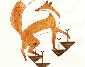 "Step Up, Fox Print 5x7""  Watercolour Gouache Illustration"