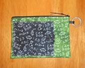 Pencil Bag with Pocket - Black on Green Chalkboard Doodles
