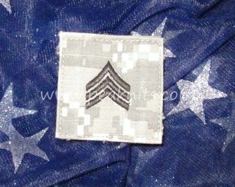 Sergeant (SGT, E5) US Army ACU Military Rank Patch - Velcro Backing