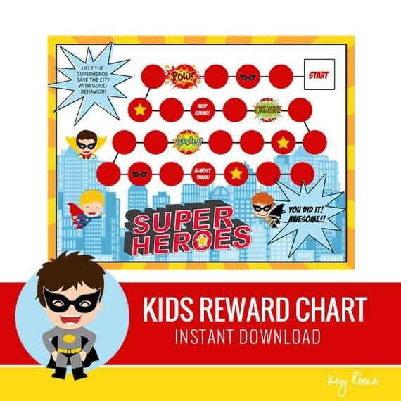 Kids Reward Chart - Superhero Printable - Behavior Chart - Routine ...