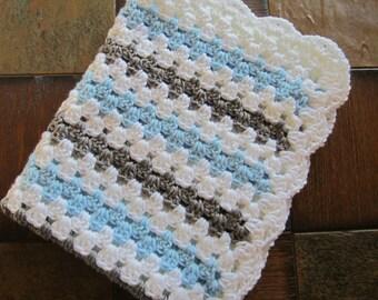baby boy blanket, crochet granny stripe, crochet blanket, afghan crochet, crocheted blanket, crocheted afghan, blue gray & white