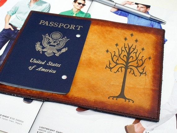 Passport Leather Cover - White Tree of Gondor - Customizable - Free Personalization
