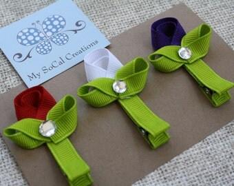 Three Tiny Tulips/Hair Clip Set/Hair Clip Trio/Tulip Ribbon Sculpture Hair Clips?Spring Flower Hair Clips