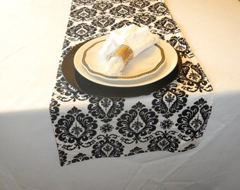 Damask Print Table Runner, Black and White Runner, Wedding, Shower, Party, Home Decor, Custom Size Available