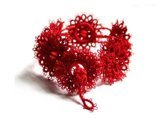 Red Cuff Bracelet Tatting Lace Beaded