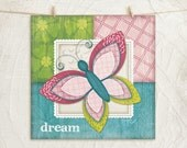 Whimsical Butterfly-Pink/Teal -Dream-12x12 Art Print - Nursery Decor -Childrens, Girls Decor -Decorative Patterns - Pink, Green, Teal, White