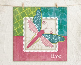 Whimsical Dragonfly-Pink/Teal -Live- 12x12 Art Print - Nursery Decor -Childrens, Girls Decor -Decorative Patterns - Pink, Green, Teal, White