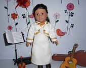 Mariachi charra suit traje pearl white gabardine gold trim for American Girl doll 18 in handmade
