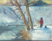 Original Plein Air Oil Painting  Snowy day Plein Air Painter in Red Coat at  Forest Park, St. Louis Mo