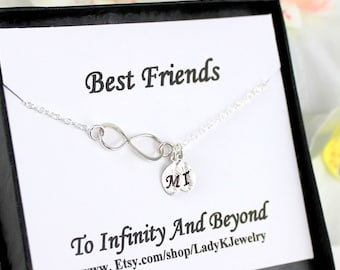 Custom Best Friend Bracelet, Personalized Infinity Bracelet, Dainty Initial Bracelet, Silver Infinity Bracelet, Bridesmaid Gift