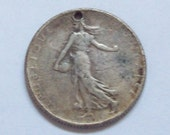 Silver Coin Fob 1915 French 2 Franc Art Nouveau