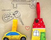 Car and House key holders - easy In-The-Hoop machine embroidery files 4x4 an 5x7  INSTANT DOWNLOAD