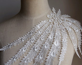 Ivory Venice Lace Appliques Peacock Tail Embroidered Collar For Wedding Supplies Bridal Veil 1 Pcs