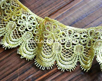 Gold Lace Trim Fabulous Baroque Crocheted Lace Trim Antique Scollaped Eyelash Lace 2.75 Inches Wide 1 Yard Wedding Dress Costumes Supplies