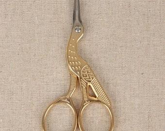 Antique Golden Scissors For DIY Handmade Crafts Zakka Sewing Supplies Stainless Scissors Crane Design 1 pcs
