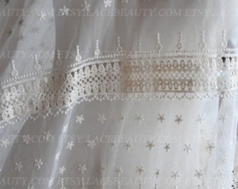Ecru Lace Fabric Star Embroidered Hollowed Out Scalloped Lace Fabric 51 Inches Wide 1 Yard For Dress Veil CostumeHeadwear Supplies