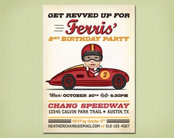 digital vintage race car birthday invite