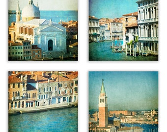 Venice Photography Set, turquoise decor, home decor prints, Venice wall art, Italy, teal wall art - Set of Four - Fine Art Photographs
