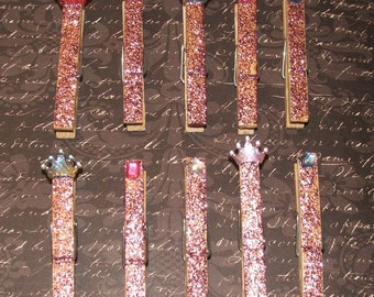 Set of 10 Shabby Chic Pink Glittered Clothes Pins Crown Paris Princess - Rustic, Beach, Chippy Cottage, French Country, Wedding
