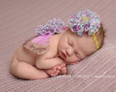 Newborn Photo Prop Wings and Flower Headband Set - Gold Lavender Floral Butterfly Wing SET- Infant Baby Photography Props