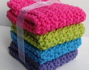 Crochet Dishcloths Washcloths - Set of 4 - For Kitchen, Bathroom, Baby - Dark Pink, Green, Blue, Purple - 100% Cotton