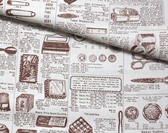 Japanese Fabric Cotton Yuwa - Vintage Sewing Tools - half yard