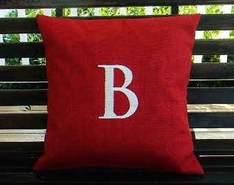 Monogrammed Initial Indoor / Outdoor Pillow Cover  in Cherry Red  | Personalized | Alphabet | Embroidered | Wedding